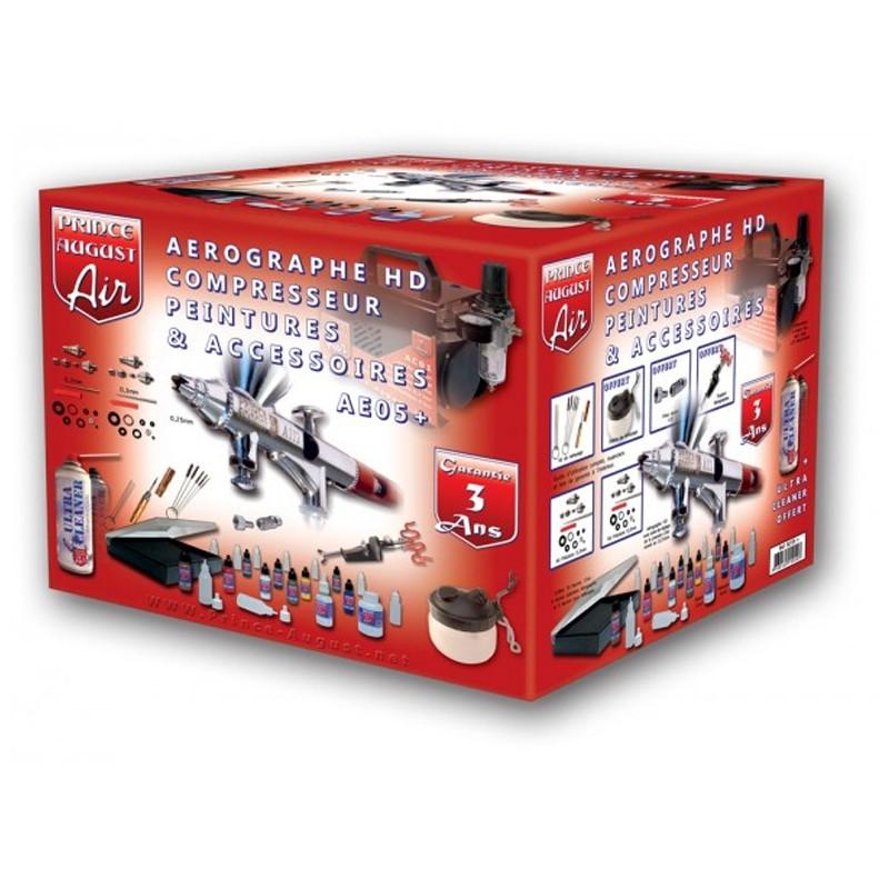 AE05+ – Air Ultimate Aérographe HD Compresseur Peintures Accessoires + UC01